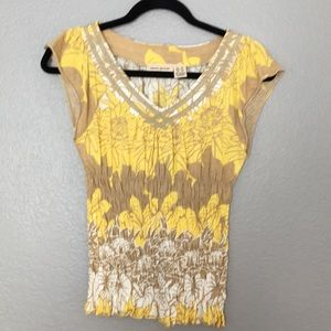 DKNY yellow flower top.  XS.